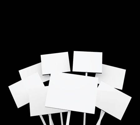 witte poster op zwarte achtergrond Stockfoto
