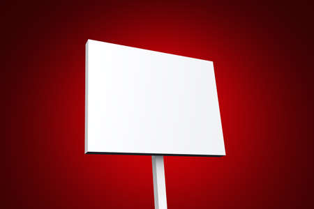 writable: white poster on red background Stock Photo