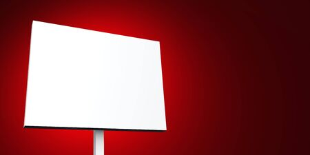 d offer: white poster on red background Stock Photo