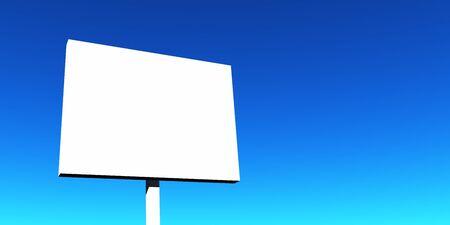 d offer: white poster on blue background
