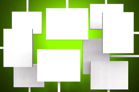 d offer: white posters on green background Stock Photo