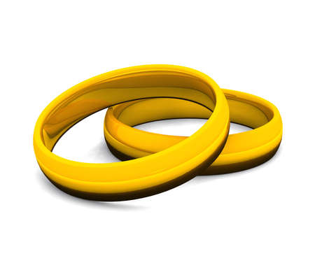 golden rings on white background Stock Photo - 9117037
