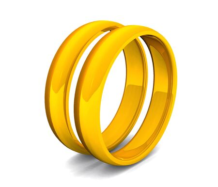 golden rings on white background Stock Photo - 9117428