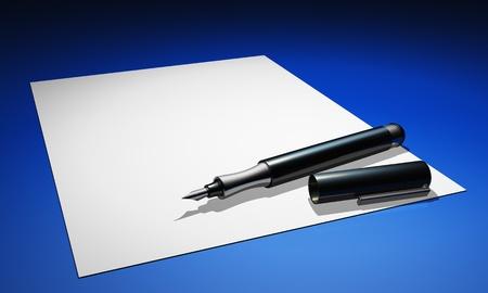 the 3d: 3D l�piz sobre papel blanco y azul