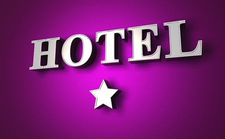 silver hotel sign with a star on purple wall Stock Photo - 9117587
