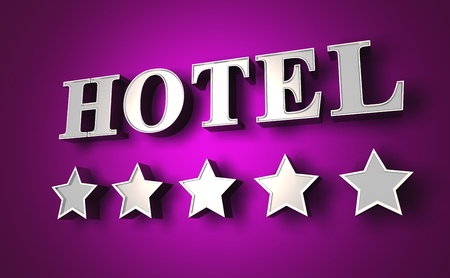hotel reception: silver hotel sign with stars on purple wall