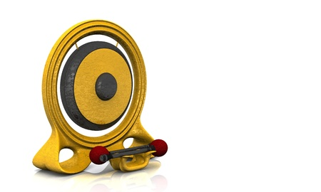 Golden Gong on white background photo