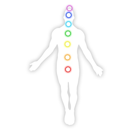 swadhisthana: male body with centers Stock Photo