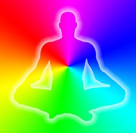 swadhisthana: cuerpo masculino sobre fondo arco iris
