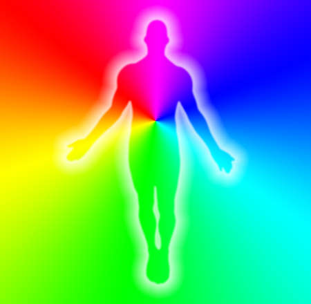 male body on rainbow background photo