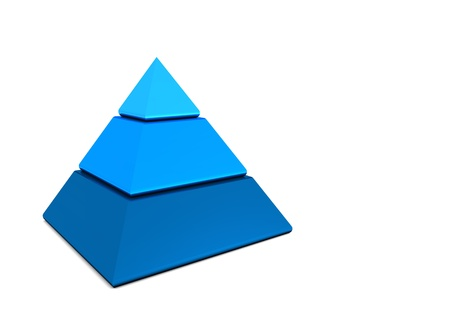 Business pyramid in three parts - blue