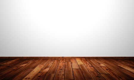 backplate: White walls with wood floor - Antique larch Stock Photo