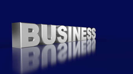 Business Silver 3D text on blue photo