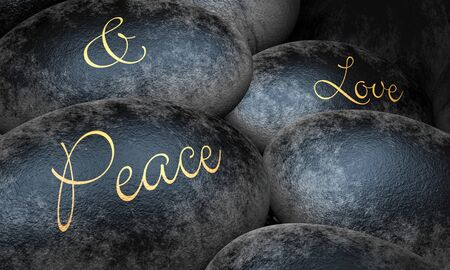 Black stones with text - Peace and Love Stock Photo - 13818427