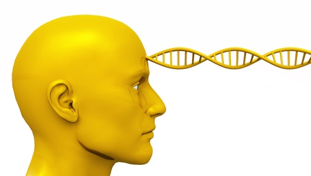 Golden Awakening - Male Head with DNA - isolated photo