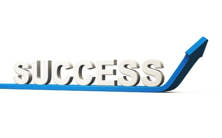 Business concept SUCCESS - 3D Blue Arrow photo