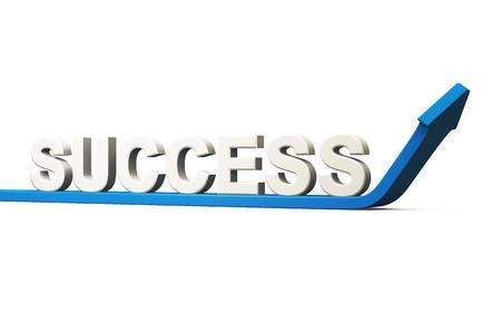career coach: Business concept SUCCESS - 3D Blue Arrow Stock Photo