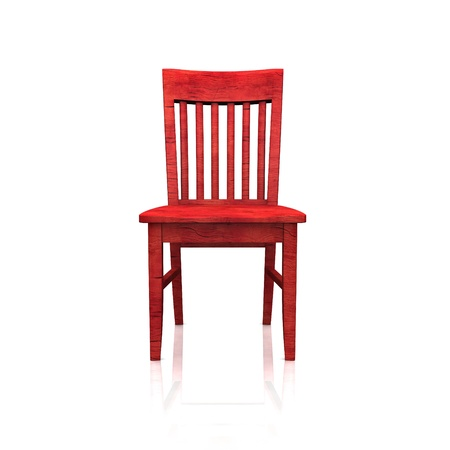 The red wooden chair - isolated photo