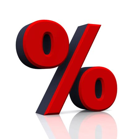percentage sign: 3D percent icon Red Black