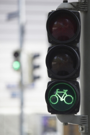 Bicycle traffic lights green photo
