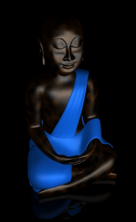 Black Buddha with blue cape at night Stock Photo - 13821934