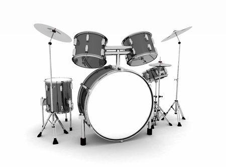 band instruments: Black and silver drums  Stock Photo