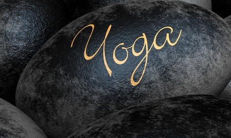 Black stones with text - Yoga Stock Photo - 13823559
