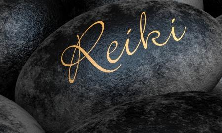 reiki: Black stones with text - Reiki Stock Photo