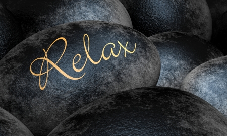 Black stones with text - Relax Stock Photo - 13823605