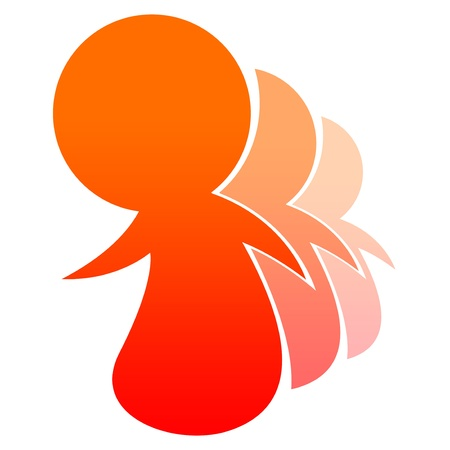 social movement: People logo red orange Stock Photo
