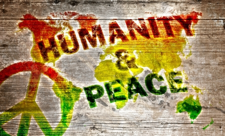 Wood Sign - Humanity and peace for the world photo