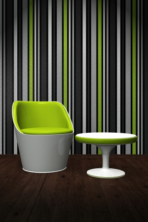 Contemporary chair with a table in the light - green, white photo