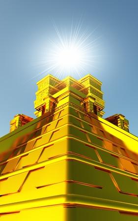 spirituell: Goldener Maya Tempel in 3D mit Beleuchtung