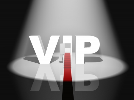 3D text with VIP red carpet at night