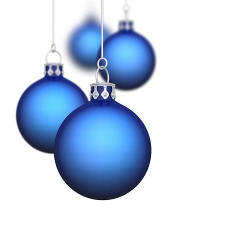 advent: Kerst achtergrond blauwe ballen Stockfoto