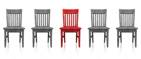 의자의 3D 행 - 빨강 회색