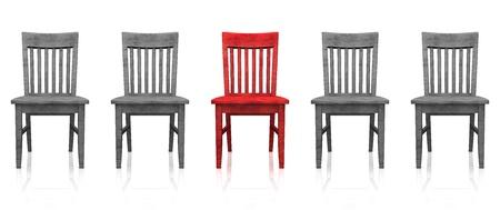 silla de madera: La fila de sillas 3D - rojo gris Foto de archivo