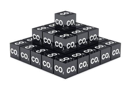 dioxido de carbono: 3D - CO2 negro pirámide de cubos Foto de archivo
