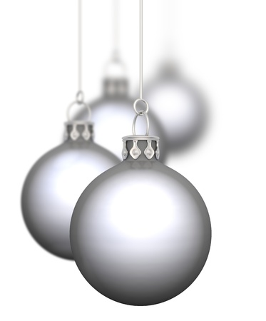 group of christmas baubles: Christmas balls hanging 01-4x silver chrome