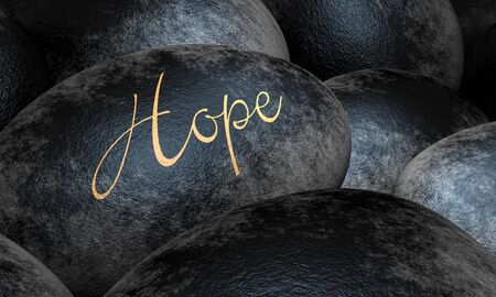 Black stones with text - Hope Stock Photo - 13823604