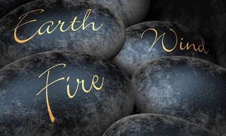 Black stones - earth wind and fire Stock Photo - 13825158