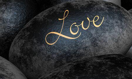 Black stones with text - Love Stock Photo - 13823557