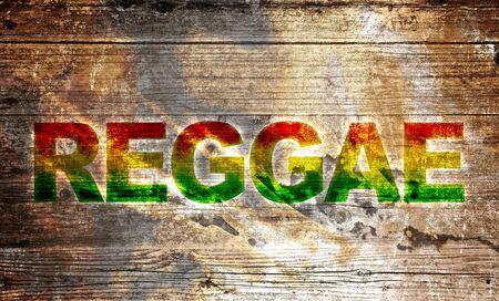 rasta colors: Old wooden board - writing reggae