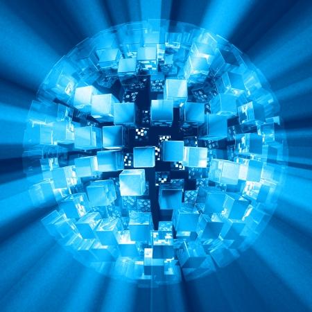 laser beam: Matrix light blue explosion