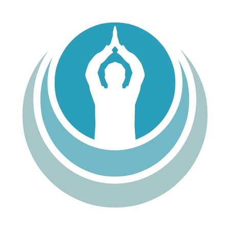Prayer Om - Aum symbol in blue prayer Stock Photo - 13821409