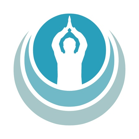 Prayer Om - Aum symbol in blue prayer Stock Photo - 13821409