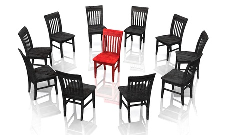 round chairs: The Trial - Red Black
