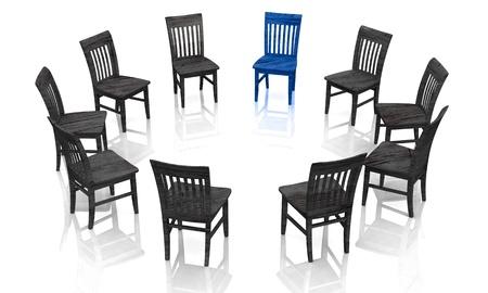silla de madera: La psicoterapia - El color azul-negro grupo de autoayuda Foto de archivo