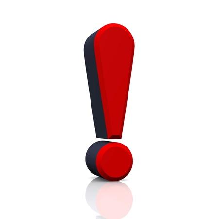 exclamation mark: 3D signo de exclamación - Rojo Negro Foto de archivo