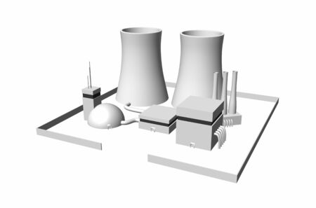 cooling tower: 3D nuclear power plant